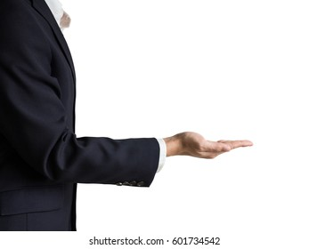 businessman's hand showing something with palm up, isolated on white background