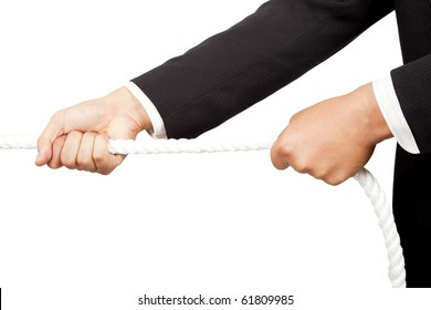 businessman's hands pulling a rope