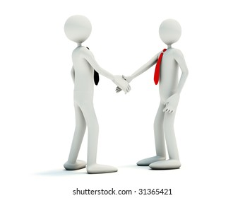 Businessmans make a handshake  isolated on white