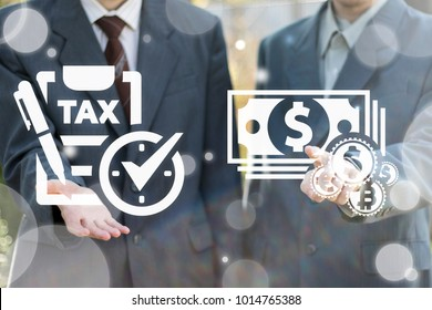 Businessmans using virtual screen offers icon check list pen tax clock and presses button money coins cash. Tax Payment Business Financial concept. Value Added Tax. Taxes Pay Management Plan Schedule.