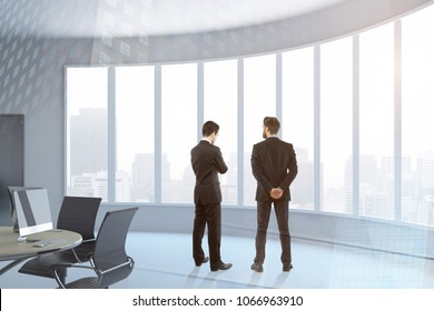 Businessmen in abstract office interior on city background. Teamwork and union concept. 3D Rendering