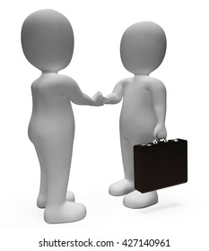 Businessmen Agreement Meaning Shaking Hands And Executive 3d Rendering