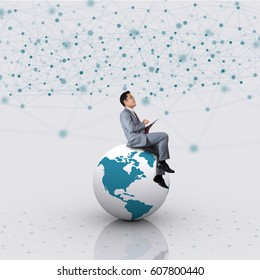 Businessmen are amidst the enormous network.