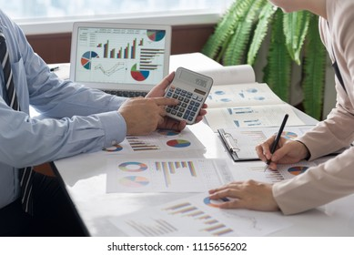 Businessmen are analyzing market data to clients or partners have been informed. business strategy concept.