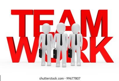 businessmen with big red teamwork text behind