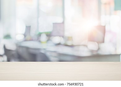 Businessmen blur in the workplace or burred table work in office room with computer or shallow depth of de focus abstract background.