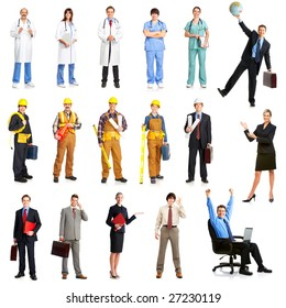 Businessmen, builders, nurses, architect. Isolated over white background