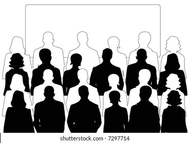businessmen and businesswomen audience with display screen