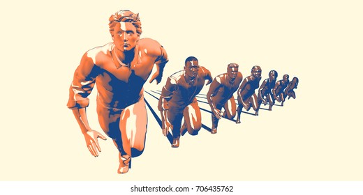 Businessmen and Businesswomen Competing in Race Concept Art 3D Illustration Render