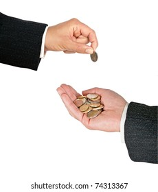 Businessmen with coins
