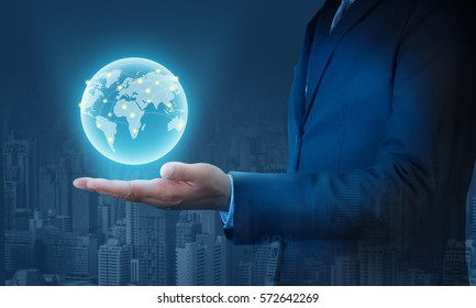 Businessmen concept with metro city and world network connection