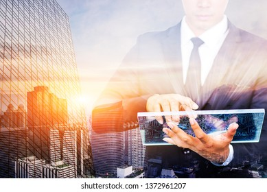 Businessmen with the concept of modern life, business, urban life and the internet in everything