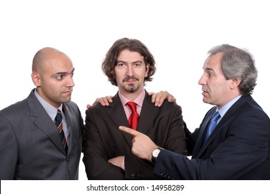 Businessmen discussing a new project, isolated in white background