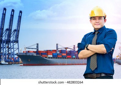 Businessmen engineering standing handsome smile in front of cargo port ship at sea port concept