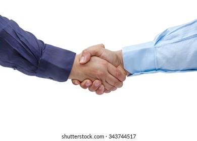 Businessmen firmly handshaking isolated