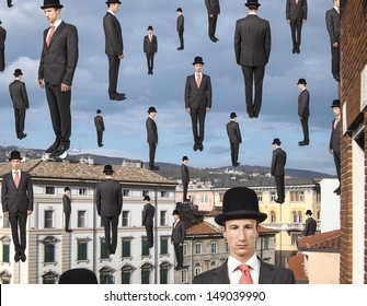 businessmen floating in the sky over european city, magritte style