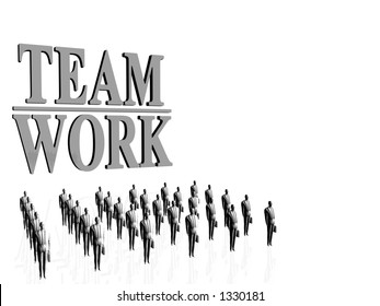 Businessmen in front of a team work sign. Economy,teamwork concept. Copy space, clipping path.