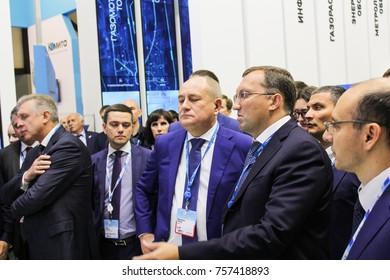Businessmen at the gas forum. St. Petersburg, Russia - 3 October, 2017. Participants and visitors of the annual St. Petersburg Gas Forum.