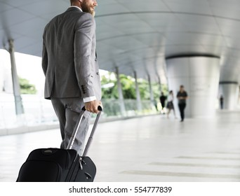 Businessmen Habds Hold Luggage Business Trip