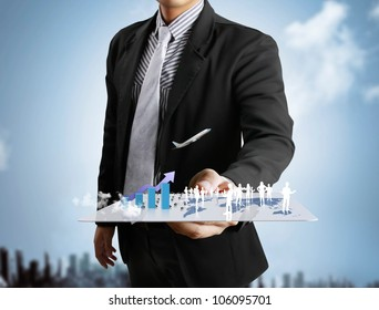 Businessmen, hand touch screen social network structure