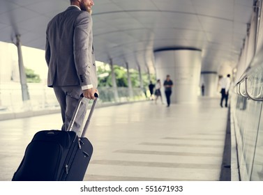 Businessmen Hands Hold Luggage Business Trip
