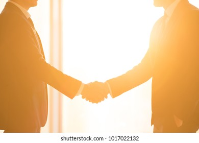 The businessmen handshake on the bright sun background