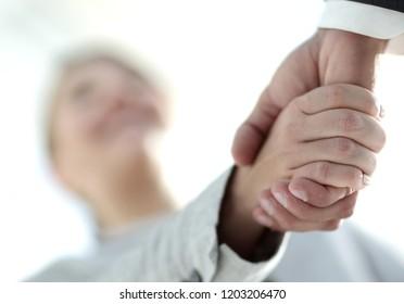 Businessmen handshaking after successful business meeting