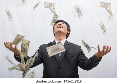 Businessmen are happy with money.