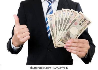 Businessmen have Japan Yen Bill