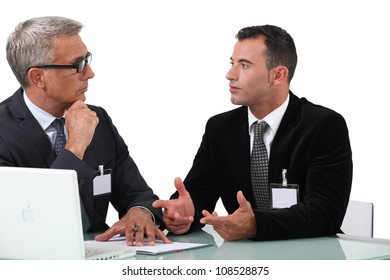 businessmen having a discussion