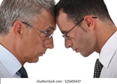 Businessmen head to head