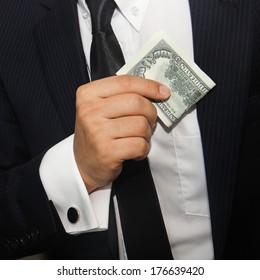 Businessmen holding money 100 dollars