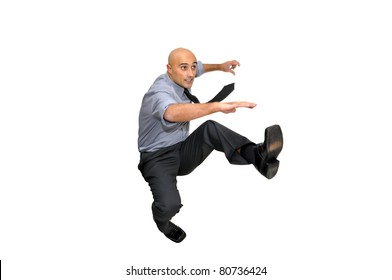 Businessmen jumping isolated in white
