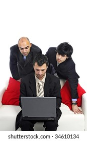Businessmen with laptop isolated in white