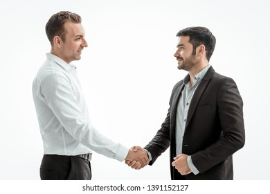 Businessmen making handshake on white background, merger and acquisition concepts