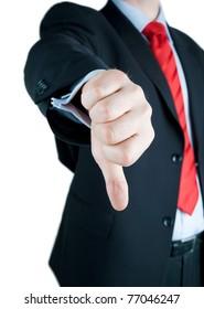 Businessmen Making His Thumb Down - closeup of thumb