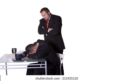 Businessmen in an Office Caught Sleeping on the Job - Isolated Background