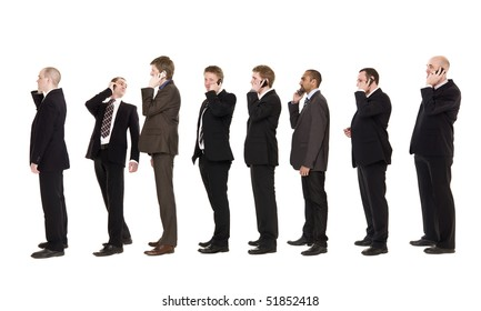 Businessmen on a line using their cellphones
