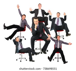 Businessmen on red office chairs, collage.