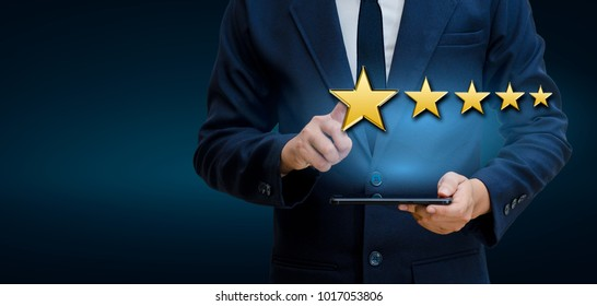 Businessmen pointing five star stars to boost corporate ratings Phone Holder