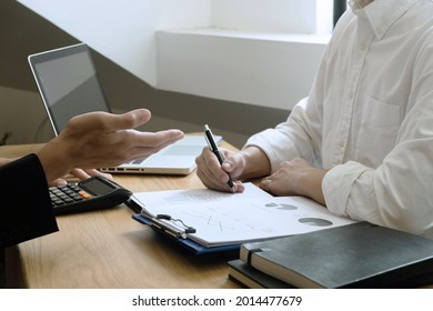 Businessmen present business plans and marketing to the partner .Business concept.