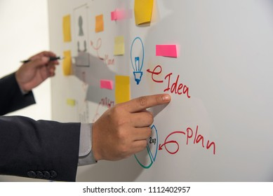 Businessmen are presenting marketing plans and action plans as they are prepared.