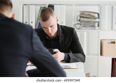 Businessmen reading financial review at tablet pc in office. Stock market trade and investment, modern data search, use wifi connection, white collar partner, e-commerce profit, inspiration concept