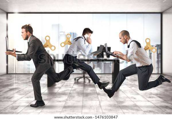 Businessmen run for work without getting tired with extra energy