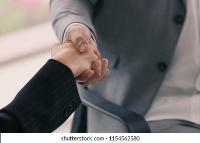 Businessmen shake hands, congratulate the concept, growth.