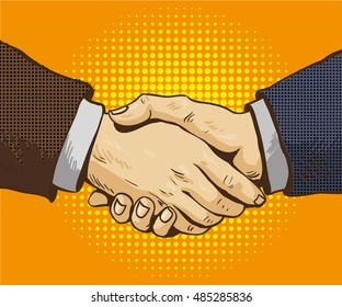 Businessmen shake hands illustration in retro pop art style. Partnership handshake concept poster in comic design.