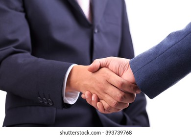 Businessmen shaking hands making an agreement isolated on white background