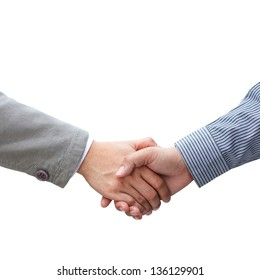 Businessmen shaking hands on white background