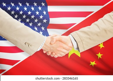 Businessmen shaking hands - United States and China