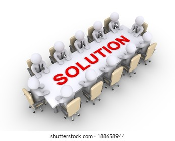 Businessmen sitting across a table with solution word on it